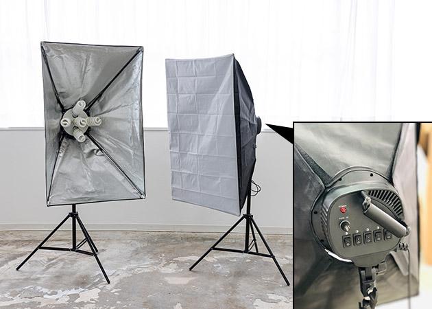 大阪のレンタルフォトスタジオ「UTSUBO STUDIO 3」のスタジオライト4灯(ソフトボックス)2台